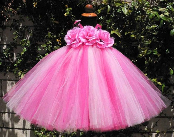 4 Shades of Pink Sewn Tutu Dress - STRAWBERRY DREAMS - READY TO SHIP - 18'' long - Perfect for Portraits, Recitals, Birthdays, and More