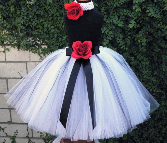 """Flower Girl Tutu Skirt - Beauty and Grace - Custom Sewn Black, White, Red Tutu - Up to 20"""" long - up to size 5T - For Christmas and Weddings"""