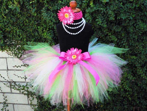 Girls Tutu Set - Birthday Tutu and Headband - Pinkerbell - Hot Pink Green Tutu - tutu and headband only - up to 5T