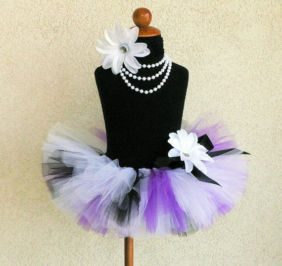 black white purple custom tutu - SPOOKY LITTLE CUTIE - Custom Sewn 6'' Infant Toddler Tutu - newborn to 24 months - For Halloween, Birthdays