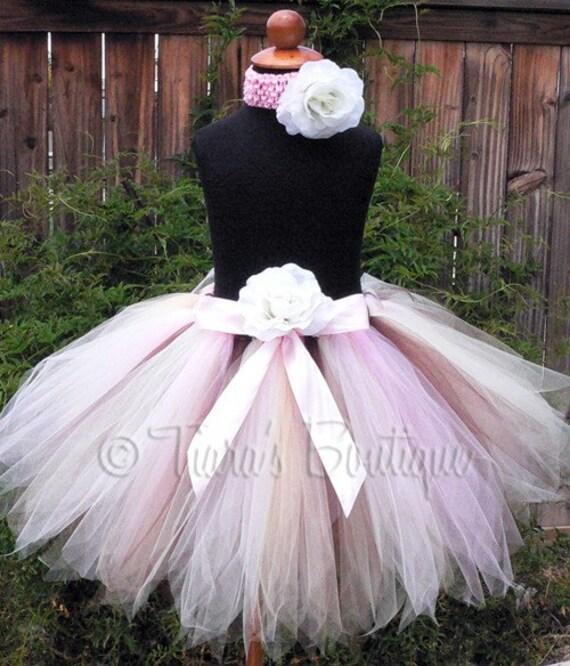 Daviana, a Woodland Fairy - Custom Sewn 15'' Pixie Tutu - sizes newborn up to 5T - pinks ivory beige brown