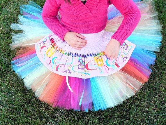 Rainbow Tutu w/ Ribbon Streamers - Surprise Party - Custom SEWN Rainbow Tutu for Girls - Up to 12'' - Tutu for Birthdays