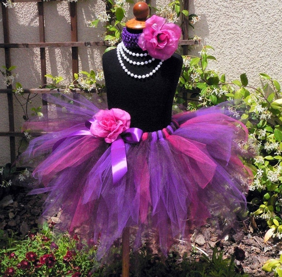 Birthday Girls Tutu - Fuchsia Pink Plum Purple Pixie Tutu - Summer Berries - BLACKBERRY - Sewn 3 Tiered Pixie Tutu - up to 5T - Photo Prop
