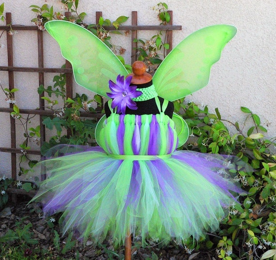 """Purple Lavender Green - Custom Tinker Fairy Pixie Dress - Custom SEWN Tutu Dress - available in any size up to 5T and up to 30"""" long"""