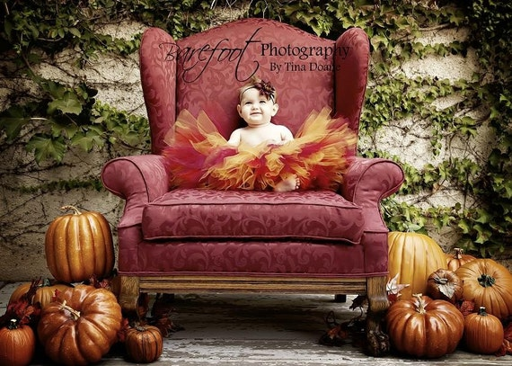 Thanksgiving Tutu - Autumn Glow - Red Gold Tutu - Custom Sewn Tutu 12'' - sizes Newborn up to 5T