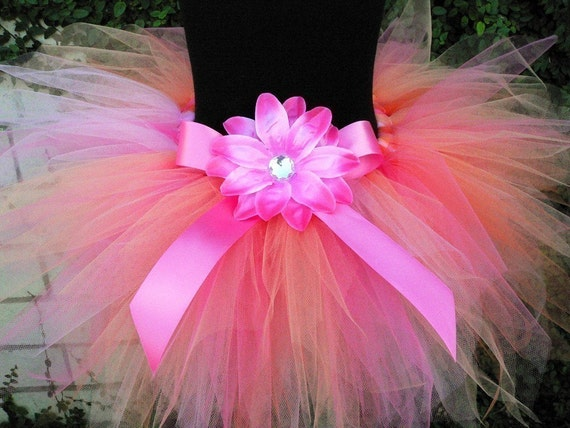 Girls Tutu Skirt - Pink Orange Tutu - Elina - Custom Tutu - Sewn 11'' Pixie Tutu