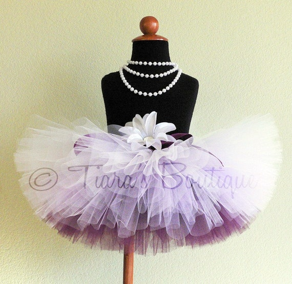 Plum Purple Ombre Tutu, Frosted Berry, White Lavender Eggplant Sewn Tutu, 8'' long, newborn to 5T, Snowfall Collection by Tiara's Boutique