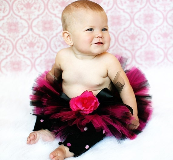 "Fuchsia Pink Black Tutu - The Original Rockstar Tutu - 6"" SEWN Infant Toddler Tutu - sizes up to 24 months"