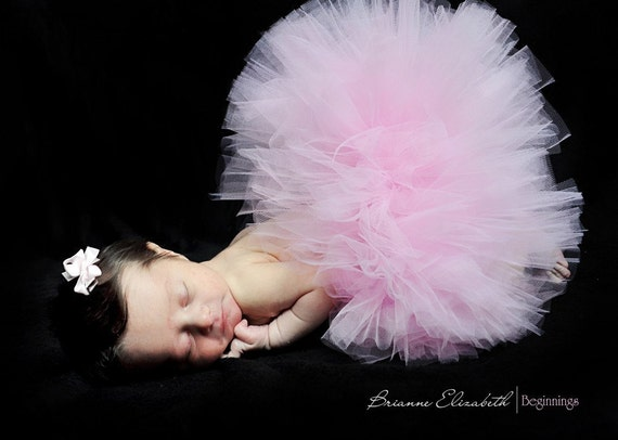 "Baby's First Tutu - Sewn 6"" Pink Infant Tutu & Headband Set - sizes newborn up to 12 months - Perfect for 1st Birthdays and Shower Gifts"