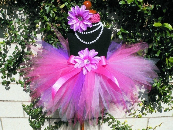 "Berrylicious - Pinks and Purples Custom Sewn 11"" Pixie Tutu - Girls Sizes 6 to 8"