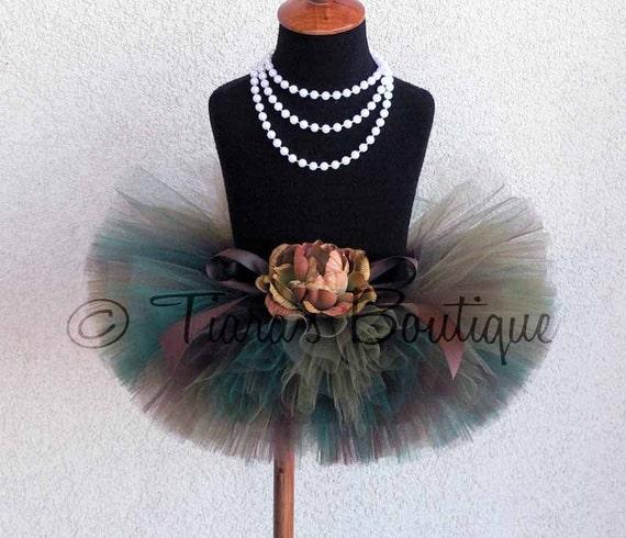 "Woodland Camo Tutu - Custom Sewn 8"" Tutu - sizes up to 5T - Perfect for Fall Autumn Portraits, 1st Birthdays, and Military Homecomings"