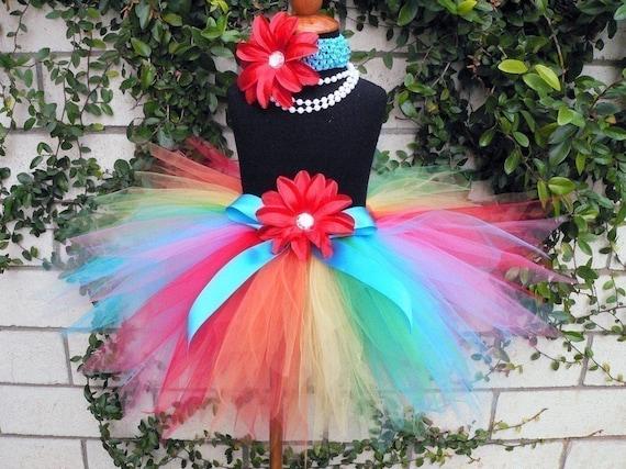 Rainbow Tutu - Custom Sewn Tutu - Dancing Rainbow - 11'' Pixie Tutu - up to size 5T