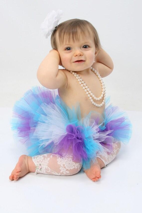 Lilacs - Custom Sewn Tutu - Purple Blue White Infant Toddler Tutu and Headband Set - sizes newborn up to 24 months
