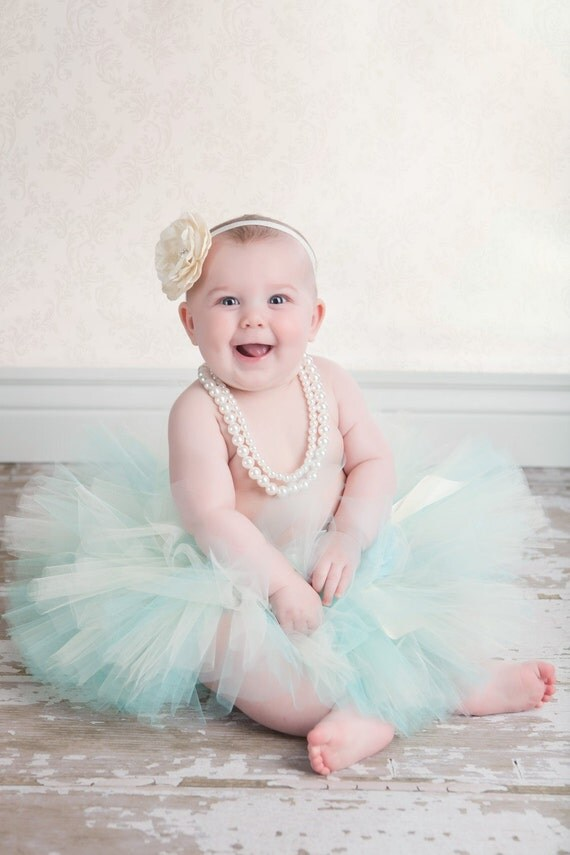 Cool Elegance - Custom Sewn Tutu Made in Aqua Blue and Ivory - up to 12'' long - sizes Newborn to 5T