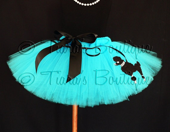 50's Poodle Skirt Tutu, Turquoise Blue Tutu w/ Poodle, Sock Hop Sweetie, Blue Tutu w/ Black Poodle Applique for Girls, Babies, Tweens