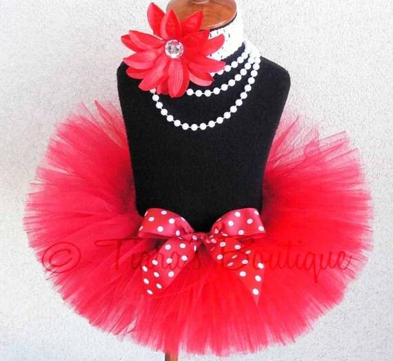 Red Tutu - Valentine's Day Tutu - Polka Dot Valentine - Custom Sewn Red Tutu - Up to 8'' Length - sizes Newborn to 5T