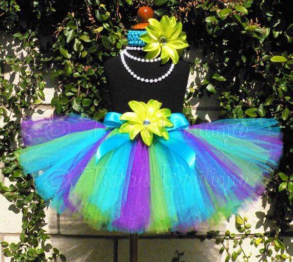 "Girls Tutu, Baby Tutu, Toddler Tutu, Birthday Tutu Skirt, Blue Green Purple Tutu, Mermaid Birthday Tutu, Tutu Set, 10"" Tutu, Monster's Tutu"