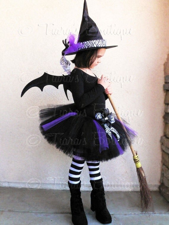 """Tutu Witch Costume - Willow, the Wild Witch - Black, Purple, and Zebra Sewn 10"""" Tutu & Witch Hat - sizes Newborn to 5T - Wings Not Included"""