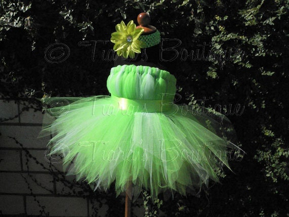 "Girls Tutu Dress - Birthday Tutu - Green Fairy Tutu - Halloween Costume - Tinkerbell - Sewn Pixie Dress - sizes 18-24 months, up to 20"" long"