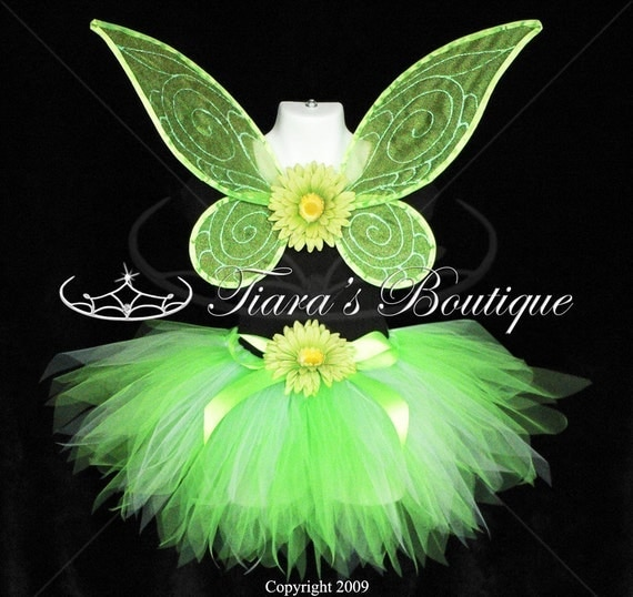 Bright Green Pixie - Inspired by Tinkerbell - HANDMADE WINGS - Petite Pixie Tutu - 11 inch SEWN pixie cut tutu