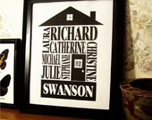 Classic Black - Personalized Family Name House Print - 8x10