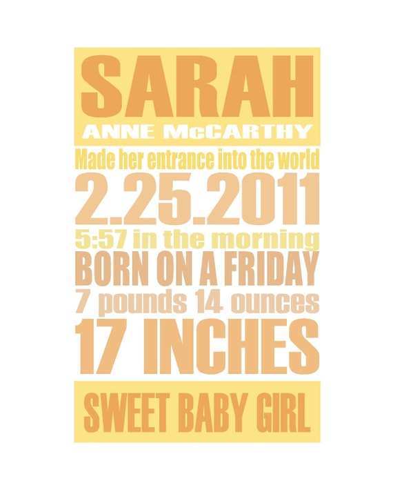 Orange - Gentle Pastel - Custom Birth Announcement Gift Print - 8x10