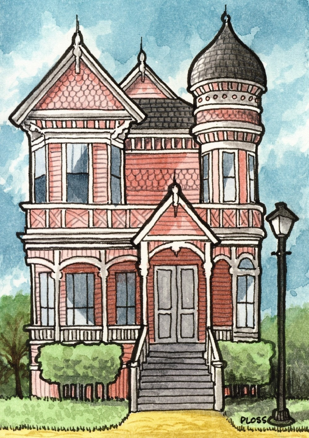 Victorian houses 5x7 three print set by geneploss on etsy Haunted house drawing ideas
