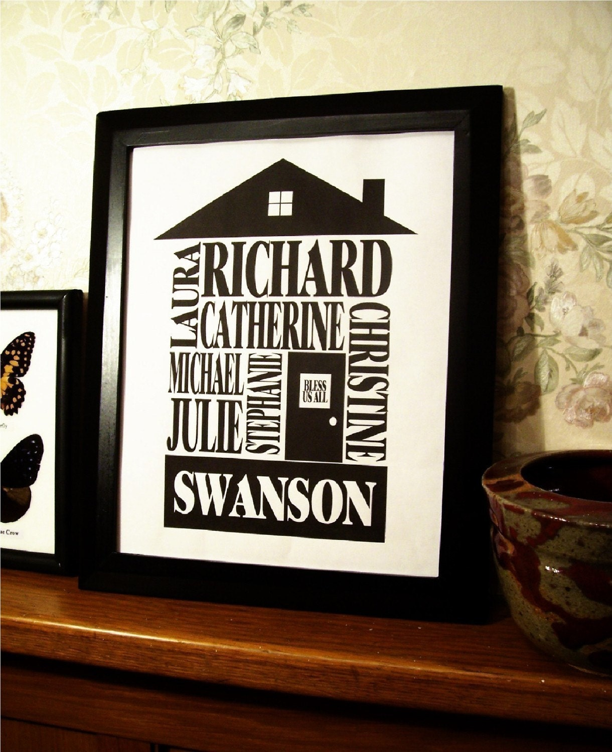 classic black personalized family name house print 8x10