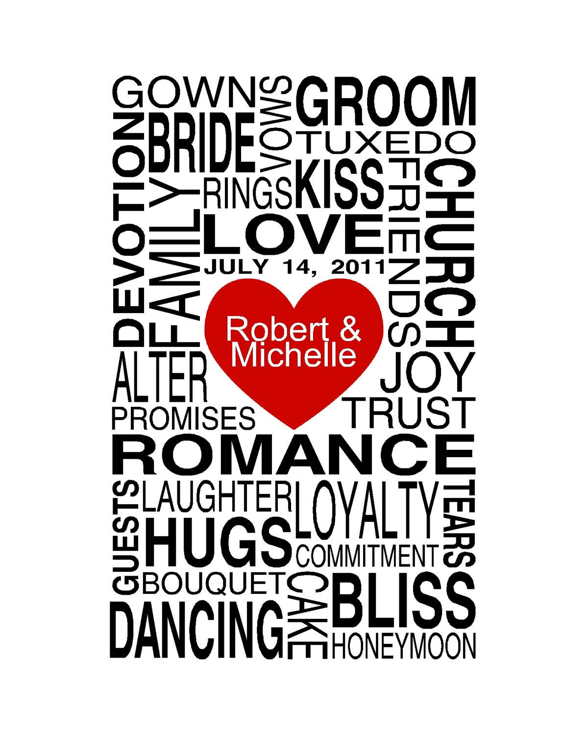 wedding words personalized gift print 8x10 free shipping
