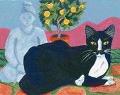 Zen Garden Cat greeting card