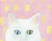 In The Pink white cat greeting card