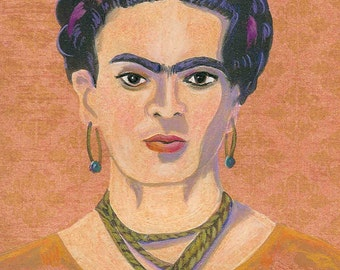 Frida Kahlo portrait greeting card blank