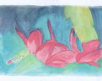 Christmas Cactus Blossom blank greeting card