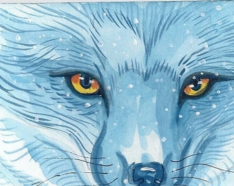 Arctic Fox winter greeting card