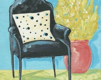 Retro Chair Polka Dot Pillow greeting card