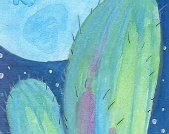 cactus moon blank greeting card