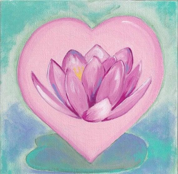 Lotus Flower Heart greeting card