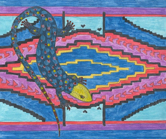 Lizard Motif in blue greeting card