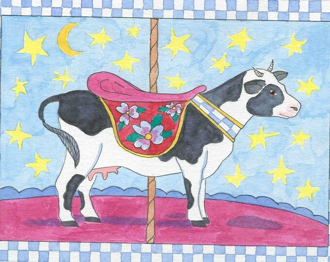 Carousel Cow greeting card blank