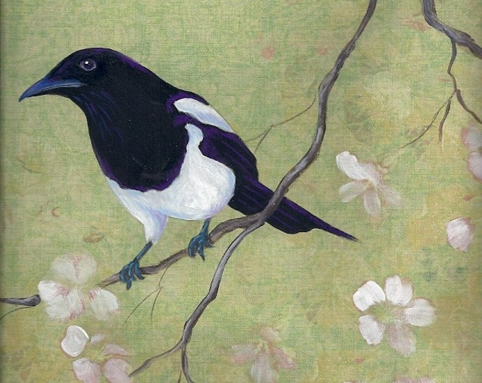 Magpie and Dogwood print