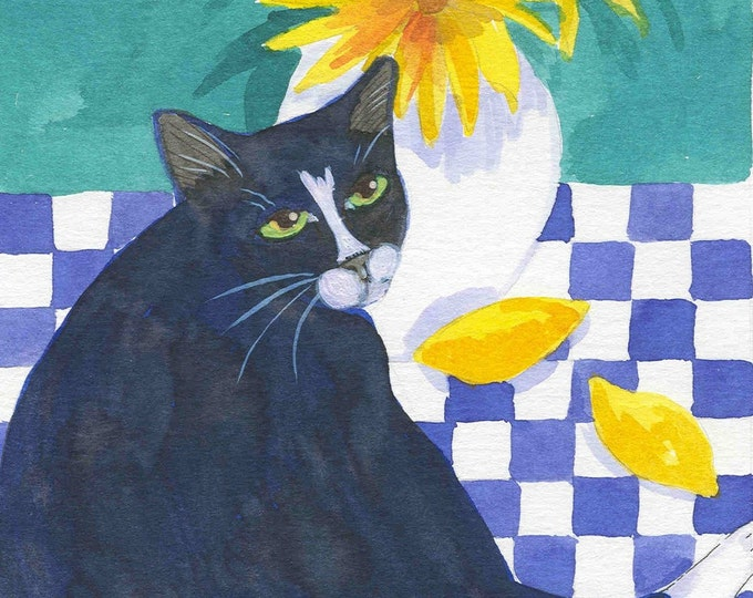 Cat and Lemons notecard