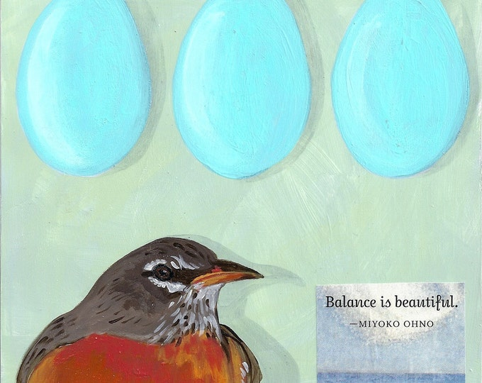 Robin and her eggs  blank greeting card