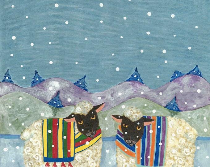 Sheep in Snow Fleece Navidad Christmas card