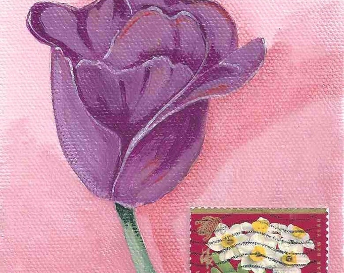 Purple tulip greeting card