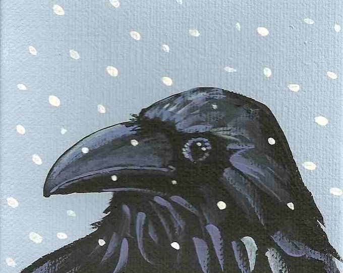 Snow Crow winter holiday notecard