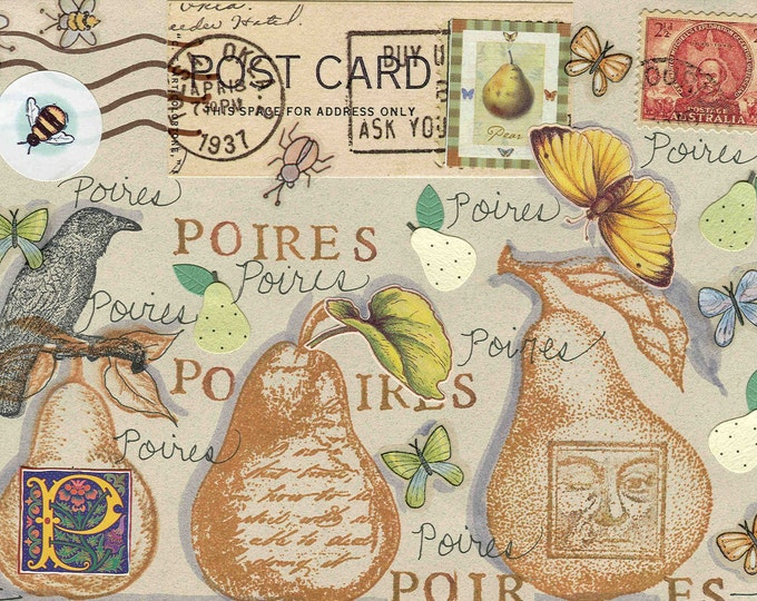 Poires pears collage greeting card