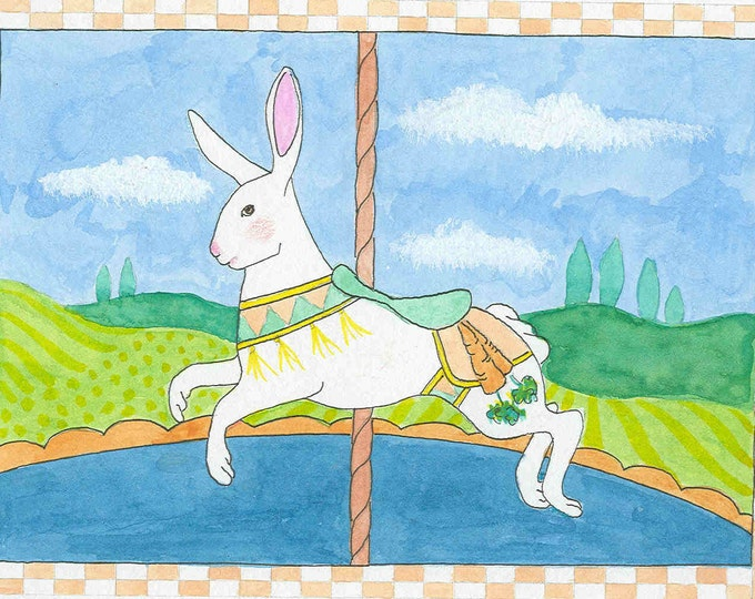 Carousel Bunny greeting card