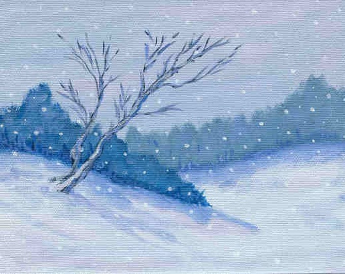 Blue Winter Christmas card Chanukah card