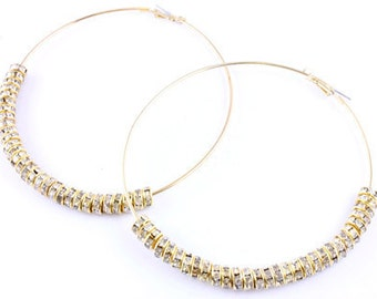 "Poparazzi Celebrity Inspired Hoops Earrings -  3 1/2 "" Extra Large Gold Diamond"