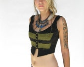 PACHA PLAY short black vest with green detail front and back- antique gold hardware